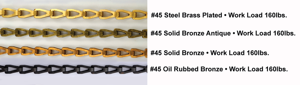 #45 solid bronze window chain